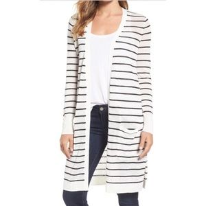 Loft White Black Striped Semi Sheer Open Cardigan